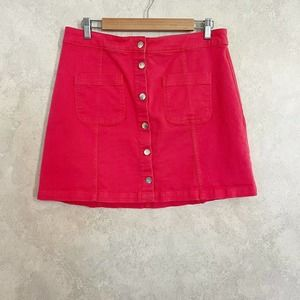 H&M Bright Pink Front Button Skirt Size 12